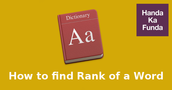 How to find Rank of a Word in Dictionary (With Repetition