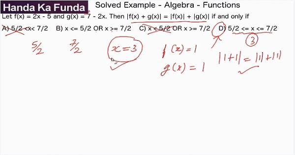 CAT 2017 - Afternoon slot - Quantitative Aptitude - Algebra - Functions - Let f(x) = 2x-5 and g(x) = 7-2x