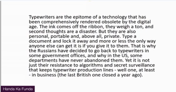 CAT 2017 - Afternoon slot - Reading Comprehension - Passage - Typewriters are the epitome of a technology