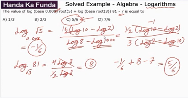 CAT 2017 - Forenoon slot - Quantitative Aptitude - Algebra - Logarithms - The value of log(base 0.008)√5