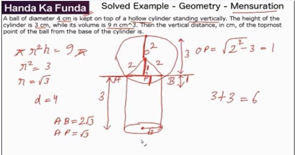 CAT 2017 - Forenoon slot - Quantitative Aptitude - Geometry - Mensuration - A ball of diameter 4 cm