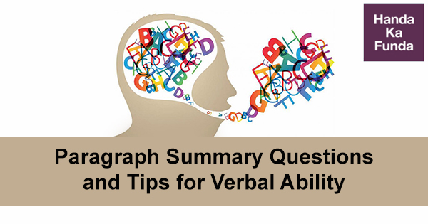 Paragraph Summary Questions and Tips for Verbal Ability of CAT Exam