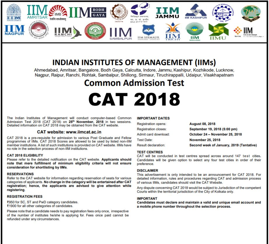 CAT 2018 Exam Notification OUT