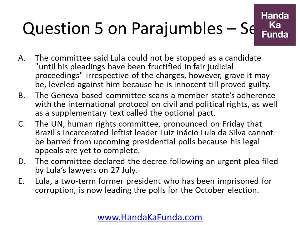 "5. A. The committee said Lula could not be stopped as a candidate ""until his pleadings have been fructified in fair judicial proceedings"" irrespective of the charges, however, grave it may be, leveled against him because he is innocent till proved guilty. B. The Geneva-based committee scans a member state"