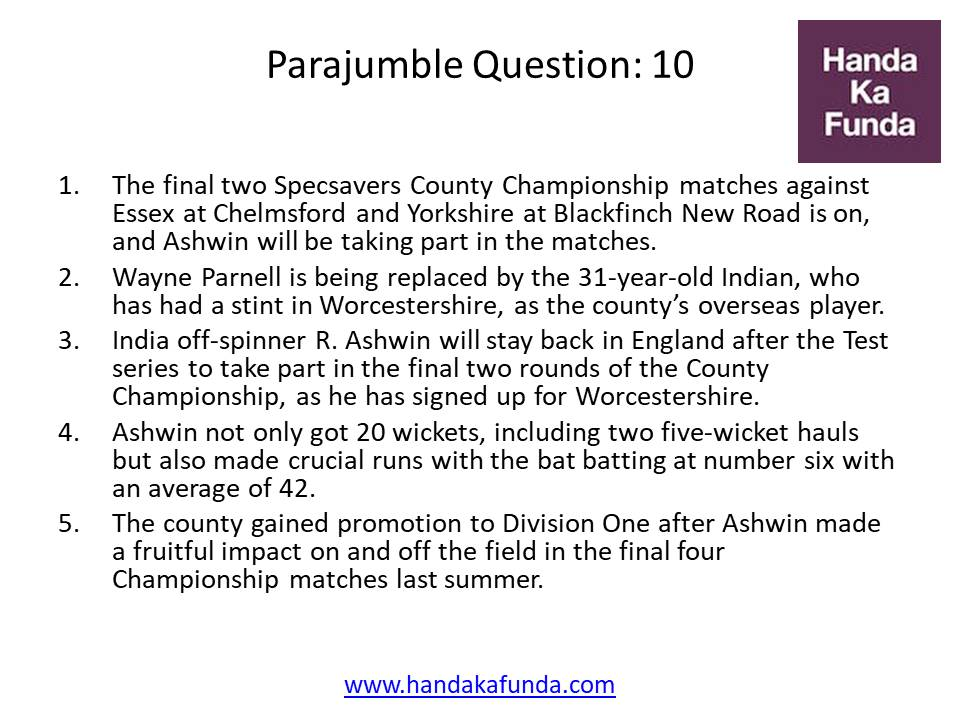 Parajumble Question: 10 The final two Specsavers County Championship matches against Essex at Chelmsford and Yorkshire at Blackfinch New Road is on, and Ashwin will be taking part in the matches. Wayne Parnell is being replaced by the 31-year-old Indian, who has had a stint in Worcestershire, as the county