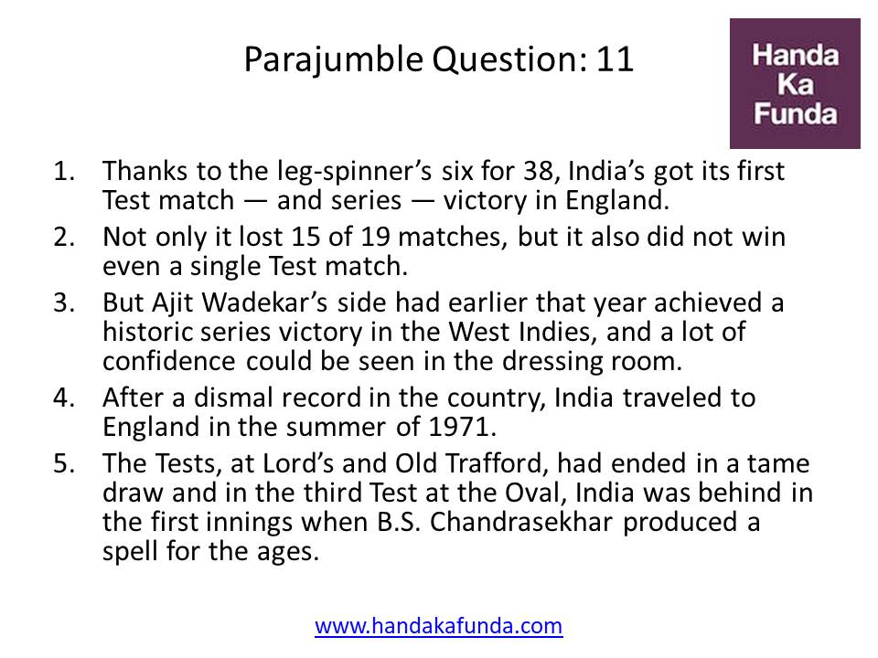 Parajumble Question: 11 Thanks to the leg-spinner
