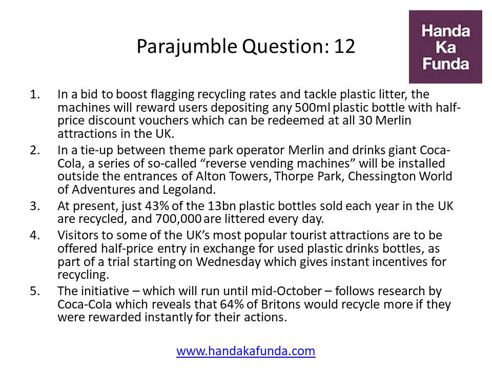 Parajumble Question: 12 In a bid to boost flagging recycling rates and tackle plastic litter, the machines will reward users depositing any 500ml plastic bottle with half-price discount vouchers which can be redeemed at all 30 Merlin attractions in the UK. In a tie-up between theme park operator Merlin and drinks giant Coca-Cola, a series of so-called