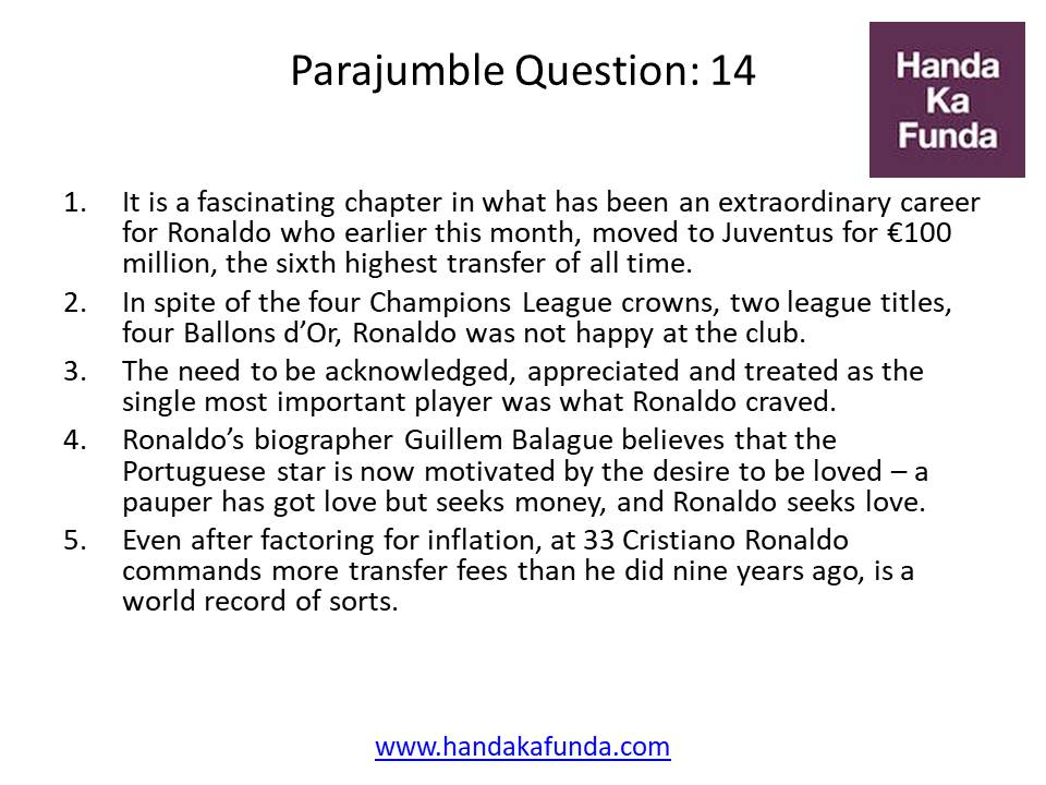 Parajumble Question: 14 It is a fascinating chapter in what has been an extraordinary career for Ronaldo who earlier this month, moved to Juventus for €100 million, the sixth highest transfer of all time. In spite of the four Champions League crowns, two league titles, four Ballons d