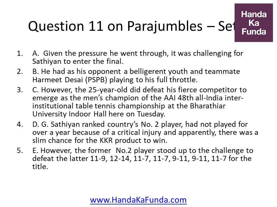 Question 11 A. Given the pressure he went through, it was challenging for Sathiyan to enter the final. B. He had as his opponent a belligerent youth and teammate Harmeet Desai (PSPB) playing to his full throttle. C. However, the 25-year-old did defeat his fierce competitor to emerge as the men