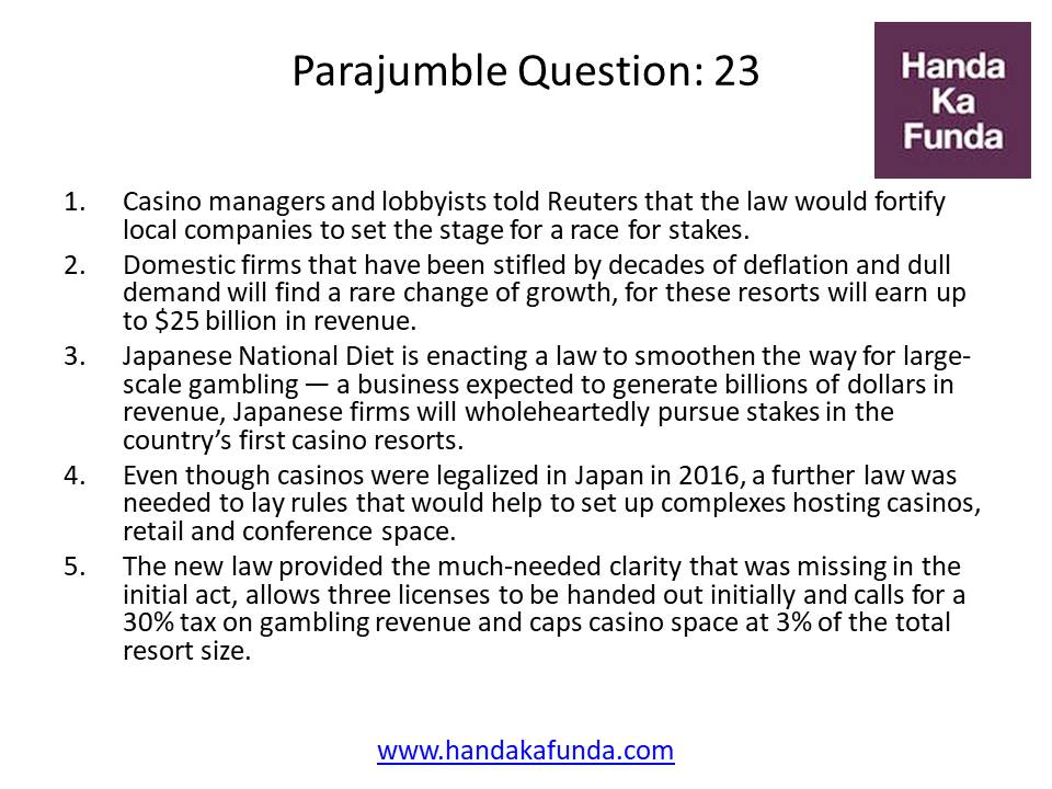 Parajumble Question: 23 Casino managers and lobbyists told Reuters that the law would fortify local companies to set the stage for a race for stakes. Domestic firms that have been stifled by decades of deflation and dull demand will find a rare change of growth, for these resorts will earn up to $25 billion in revenue. Japanese National Diet is enacting a law to smoothen the way for large-scale gambling — a business expected to generate billions of dollars in revenue, Japanese firms will wholeheartedly pursue stakes in the country