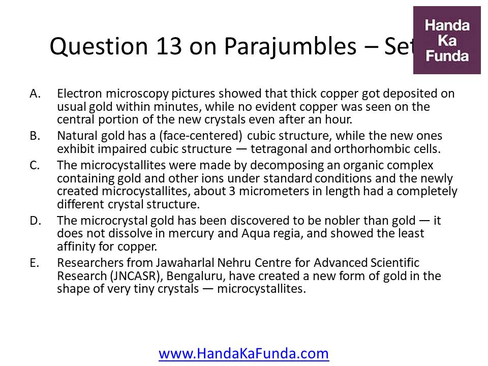 13. A. Electron microscopy pictures showed that thick copper got deposited on usual gold within minutes, while no evident copper was seen on the central portion of the new crystals even after an hour. B. Natural gold has a (face-centered) cubic structure, while the new ones exhibit impaired cubic structure — tetragonal and orthorhombic cells. C. The microcystallites were made by decomposing an organic complex containing gold and other ions under standard conditions and the newly created microcystallites, about 3 micrometers in length had a completely different crystal structure. D. The microcrystal gold has been discovered to be nobler than gold — it does not dissolve in mercury and Aqua regia, and showed the least affinity for copper. E. Researchers from Jawaharlal Nehru Centre for Advanced Scientific Research (JNCASR), Bengaluru, have created a new form of gold in the shape of very tiny crystals — microcystallites.