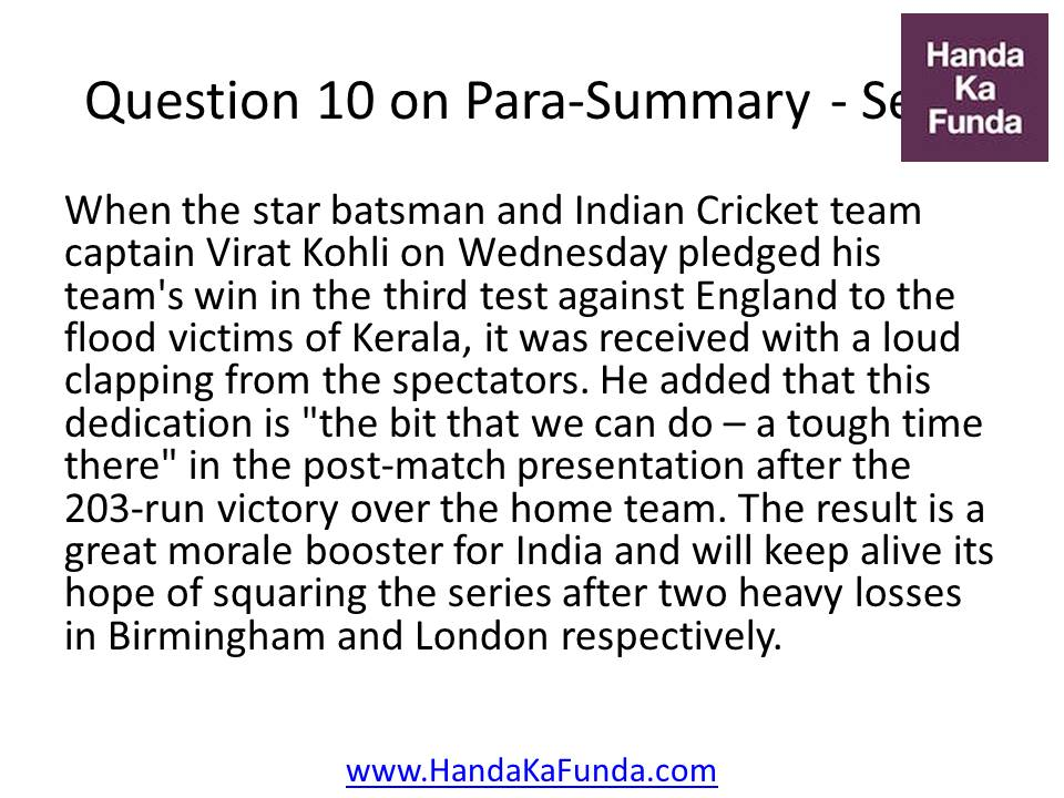 10. When the star batsman and Indian Cricket team captain Virat Kohli on Wednesday pledged his team
