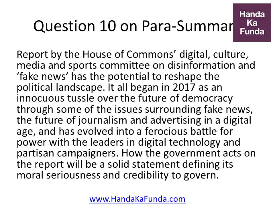 Question 10: Report by the House of Commons