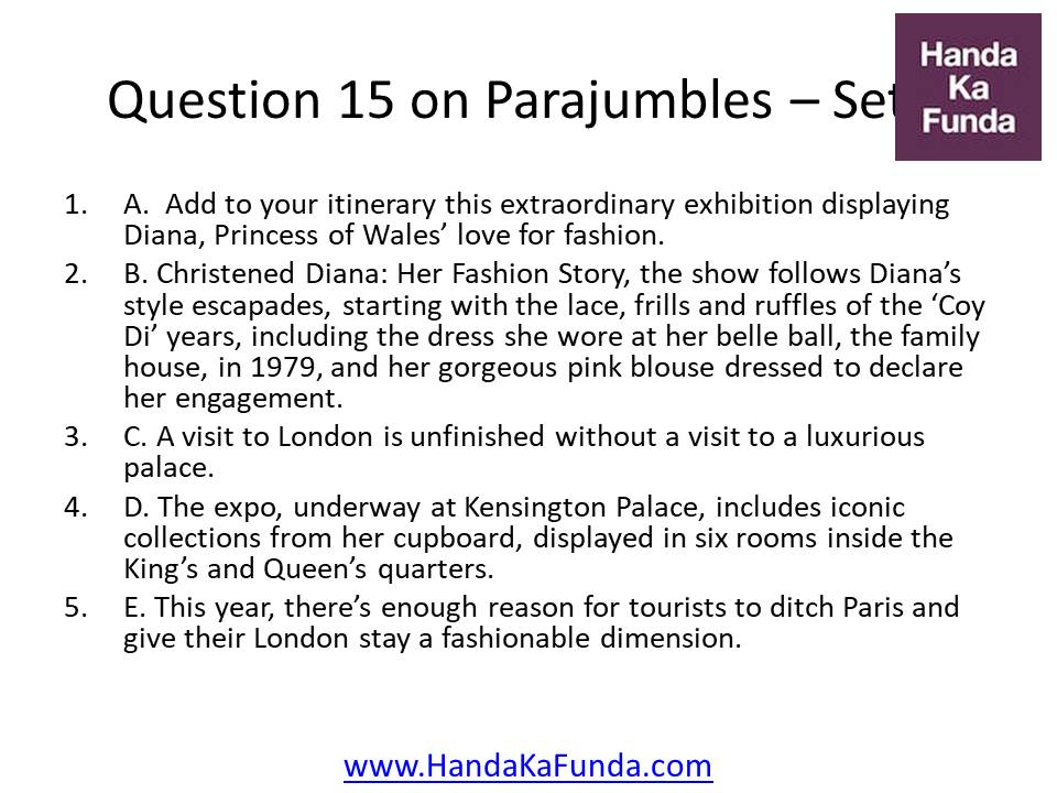 Question 15 A. Add to your itinerary this extraordinary exhibition displaying Diana, Princess of Wales