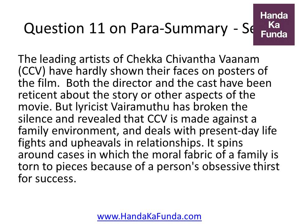 11. The leading artists of Chekka Chivantha Vaanam (CCV) have hardly shown their faces on posters of the film. Both the director and the cast have been reticent about the story or other aspects of the movie. But lyricist Vairamuthu has broken the silence and revealed that CCV is made against a family environment, and deals with present-day life fights and upheavals in relationships. It spins around cases in which the moral fabric of a family is torn to pieces because of a person