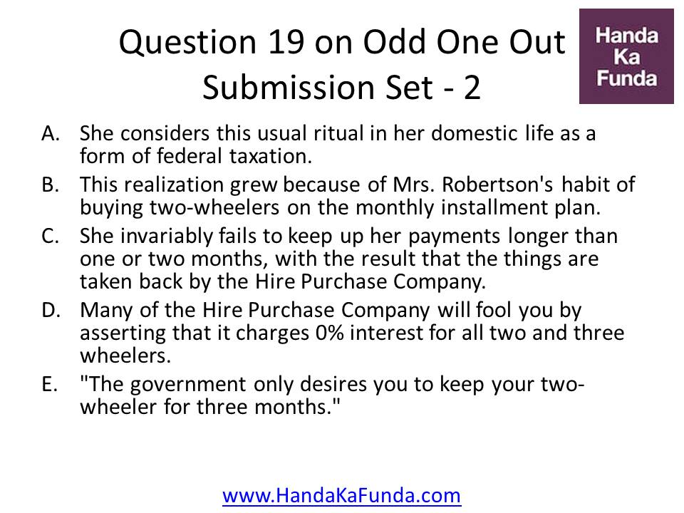 19. A. She considers this usual ritual in her domestic life as a form of federal taxation. B.This realization grew because of Mrs. Robertson
