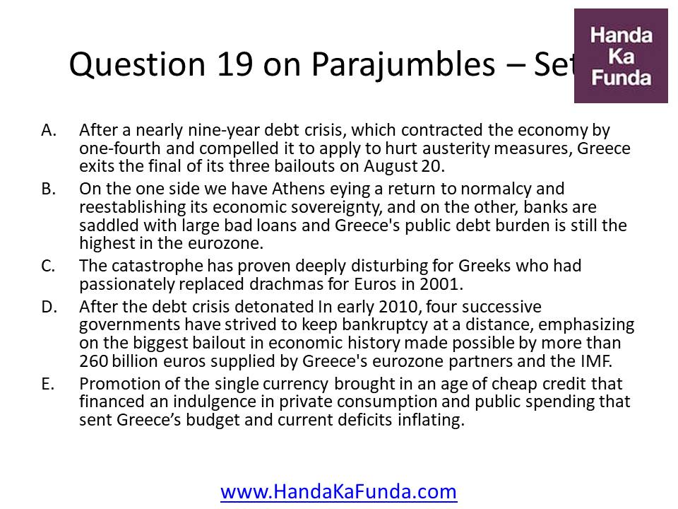 19. A. After a nearly nine-year debt crisis, which contracted the economy by one-fourth and compelled it to apply to hurt austerity measures, Greece exits the final of its three bailouts on August 20. B. On the one side we have Athens eying a return to normalcy and reestablishing its economic sovereignty, and on the other, banks are saddled with large bad loans and Greece