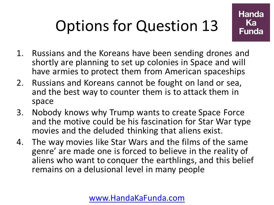 Russians and the Koreans have been sending drones and shortly are planning to set up colonies in Space and will have armies to protect them from American spaceships Russians and Koreans cannot be fought on land or sea, and the best way to counter them is to attack them in space Nobody knows why Trump wants to create Space Force and the motive could be his fascination for Star War type movies and the deluded thinking that aliens exist. The way movies like Star Wars and the films of the same genre