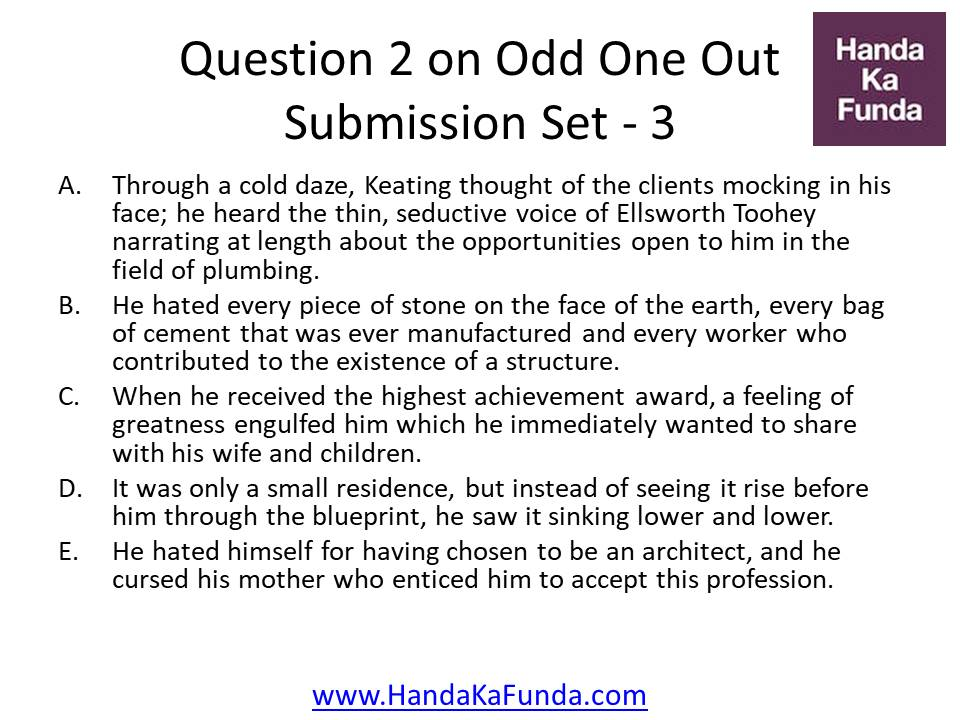 Practice Questions On Odd One Out Submission Set 3 For CAT