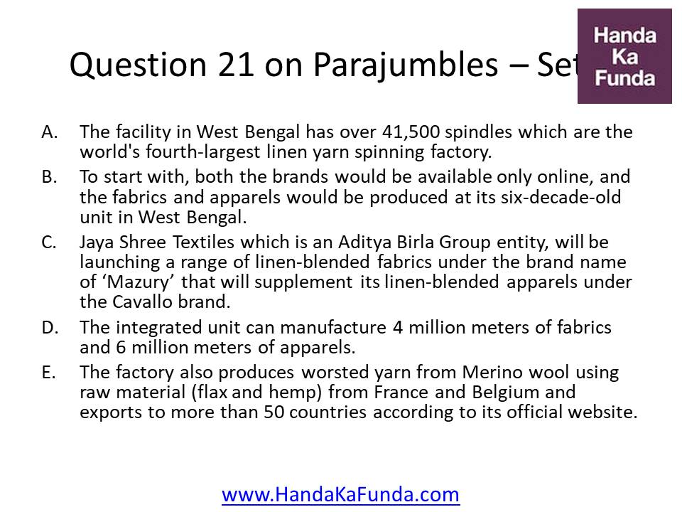 21 A. The facility in West Bengal has over 41,500 spindles which are the world