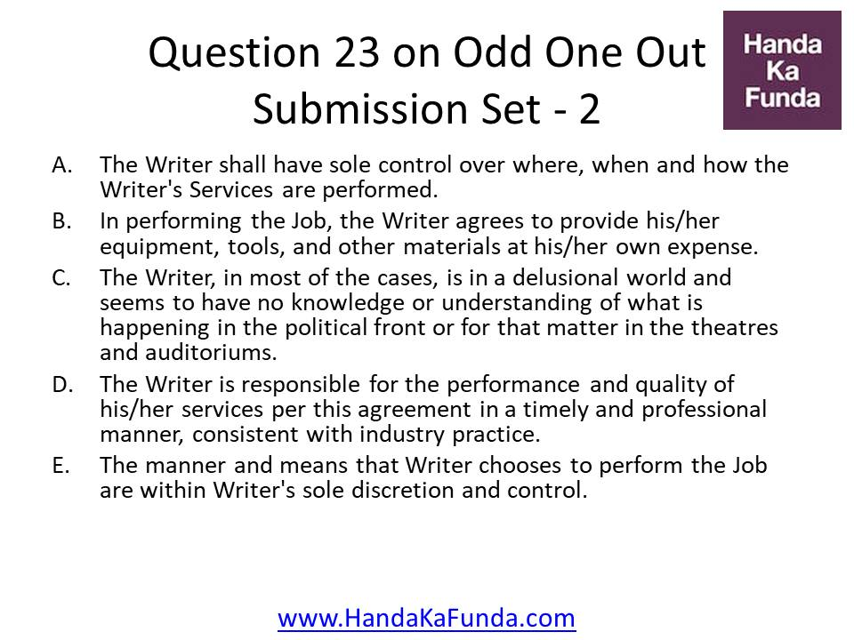 23. A. The Writer shall have sole control over where, when and how the Writer