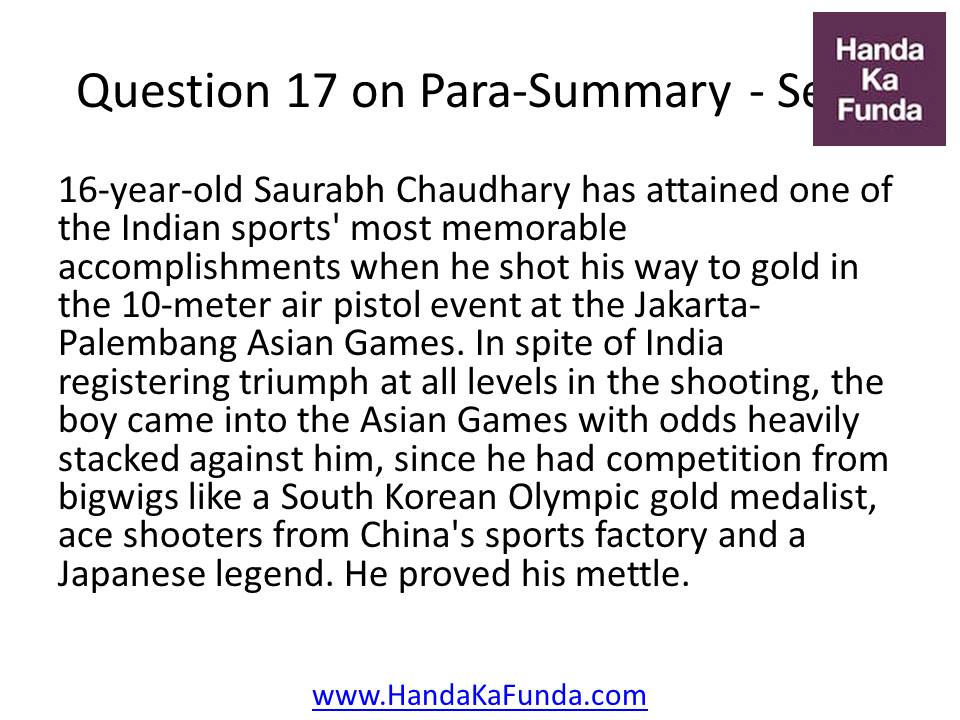 17. 16-year-old Saurabh Chaudhary has attained one of the Indian sports
