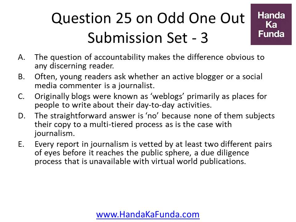 25. A. The question of accountability makes the difference obvious to any discerning reader. B. Often, young readers ask whether an active blogger or a social media commenter is a journalist. C. Originally blogs were known as