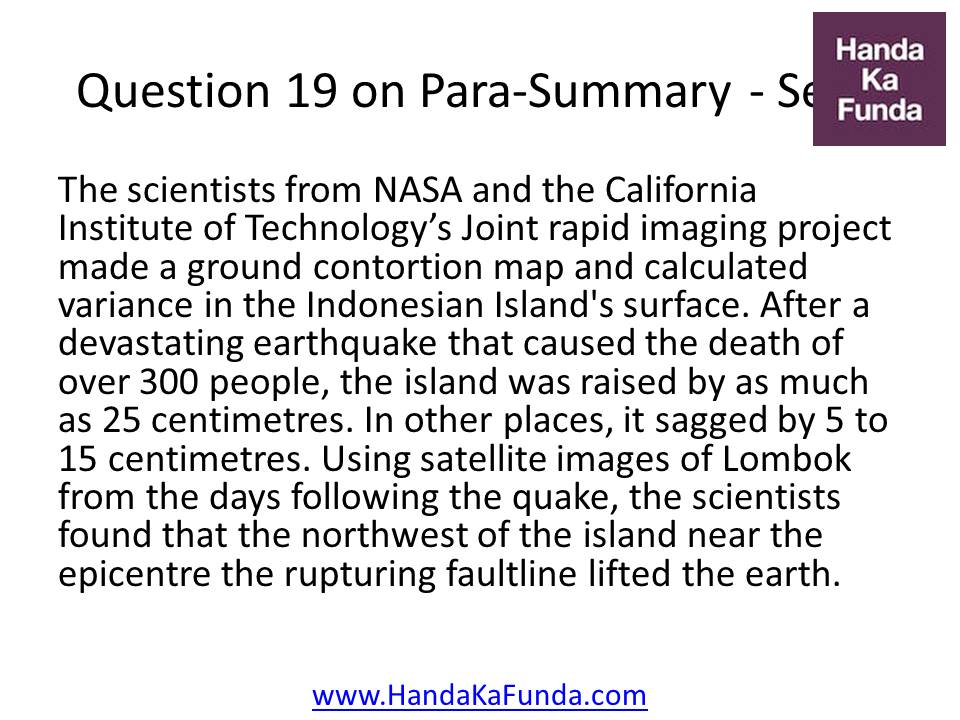 19. The scientists from NASA and the California Institute of Technology