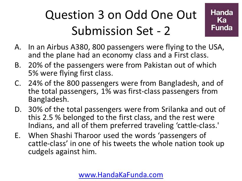 3. In an Airbus A380, 800 passengers were flying to the USA, and the plane had an economy class and a First class. 20% of the passengers were from Pakistan out of which 5% were flying first class. 24% of the 800 passengers were from Bangladesh, and of the total passengers, 1% was first-class passengers from Bangladesh. 30% of the total passengers were from Srilanka and out of this 2.5 % belonged to the first class, and the rest were Indians, and all of them preferred traveling