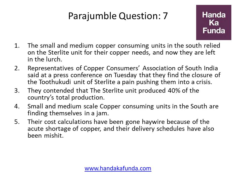 Parajumble Question: 7 The small and medium copper consuming units in the south relied on the Sterlite unit for their copper needs, and now they are left in the lurch. Representatives of Copper Consumers