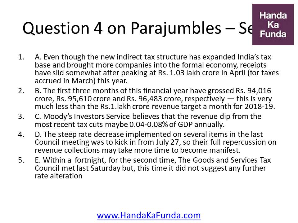 Question 4 A. Even though the new indirect tax structure has expanded India