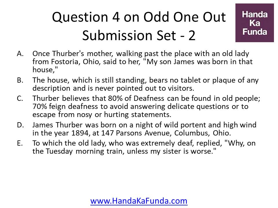 4. A.Once Thurber