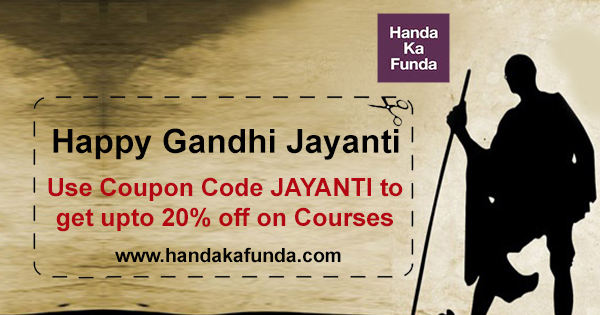 Get 20% off this Gandhi Jayanti Use coupon code JAYANTI
