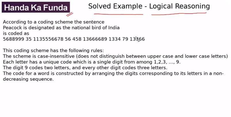 Logical Reasoning – Set – According to a coding scheme the sentence