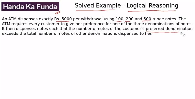 Logical Reasoning – Set – An ATM dispenses exactly Rs. 5000