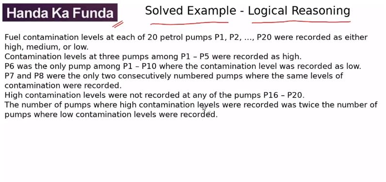 Logical Reasoning – Set – Fuel contamination levels at each of 20