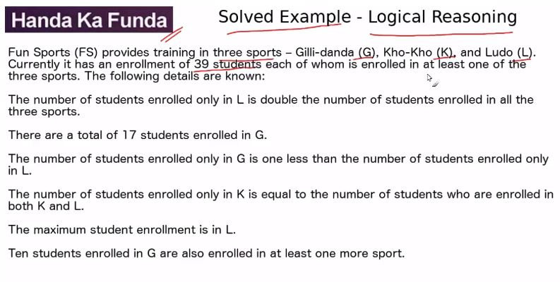 Logical Reasoning – Set – Fun Sports (FS) provides training in