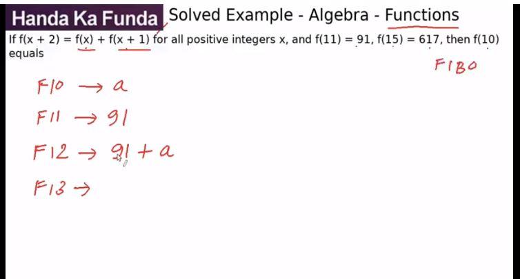 Quantitative Aptitude – Algebra - Functions – If f(x + 2) = f(x) + f(x + 1)