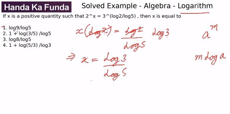 Quantitative Aptitude – Algebra - Logarithms – If x is a positive quantity such that 2^x