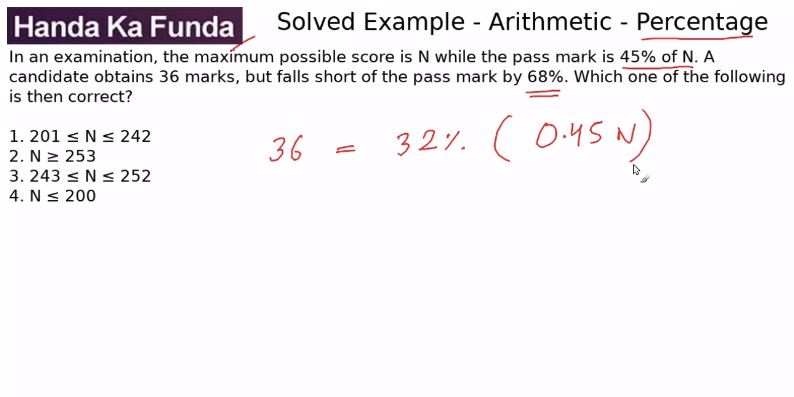 Quantitative Aptitude – Arithmetic - Percentage – In an examination, the maximum possible