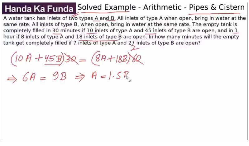 Quantitative Aptitude – Arithmetic - Pipes and Cisterns – A water tank has inlets of two types A