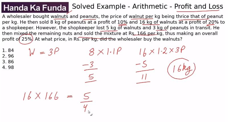 Quantitative Aptitude – Arithmetic - Profit and Loss – A wholesaler bought walnuts and peanuts