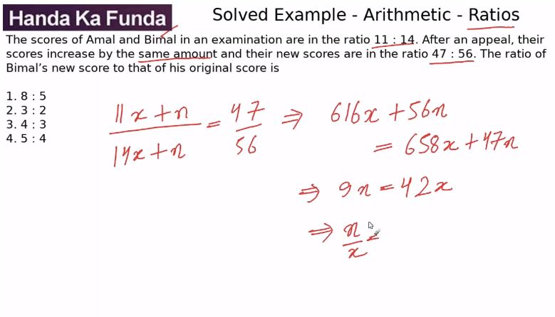 Quantitative Aptitude – Arithmetic - Ratios – The scores of Amal and Bimal in
