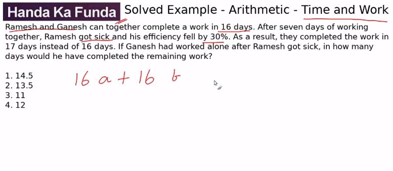 Quantitative Aptitude – Arithmetic - Time and Work – Ramesh and Ganesh can together complete