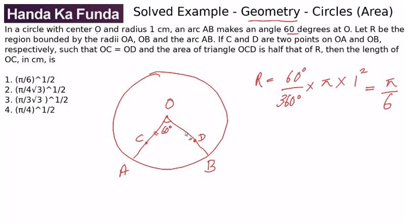 Quantitative Aptitude – Geometry - Circles – In a circle with center O and radius 1 cm