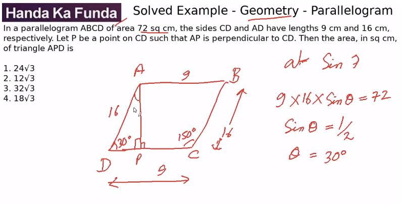 Quantitative Aptitude – Geometry - Polygons – In a parallelogram ABCD of area 72 sq cm