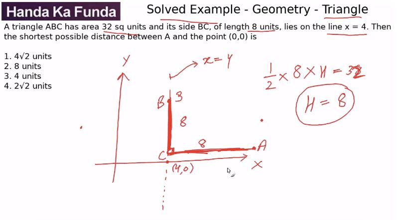 Quantitative Aptitude – Geometry - Triangles – A triangle ABC has area 32 sq units