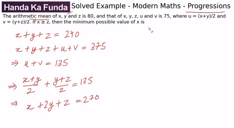 Quantitative Aptitude – Modern Maths - Progressions – The arithmetic mean of x, y