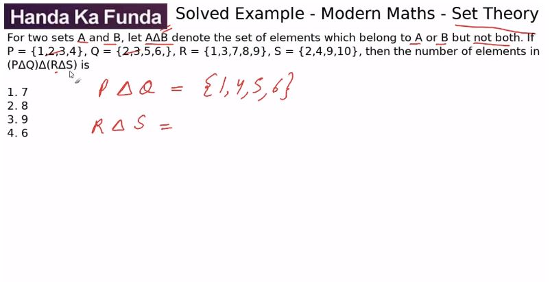 Quantitative Aptitude – Modern Maths - Set Theory – For two sets A and B, let AΔB