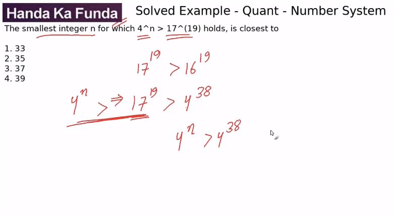 Quantitative Aptitude – Number System – The smallest integer n for which